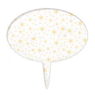 Star Pattern White and Non-metallic Gold Color Cake Topper