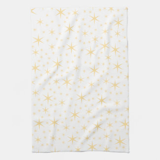 Star Pattern, White and Non-metallic Gold Color. Tea Towel