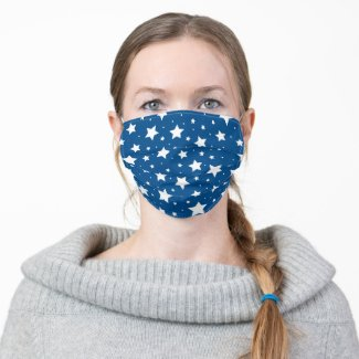 Star pattern white blue cloth face mask