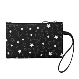 Star Pattern White on Black Coin Purse