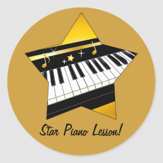 Star Piano Lesson to Student from Teacher Classic Round Sticker