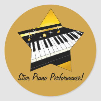 Star Piano Performance Classic Round Sticker