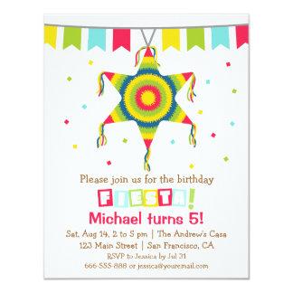 Star Pinata Mexican Fiesta Kids Birthday Party 11 Cm X 14 Cm Invitation Card