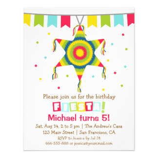 Star Pinata Mexican Fiesta Kids Birthday Party Invites