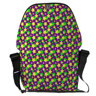 STAR POWER: GREEN & YELLOW PARADE on PURPLE ~ Commuter Bags