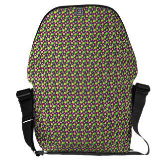 STAR POWER: GREEN & YELLOW PARADE on PURPLE ~ Commuter Bag