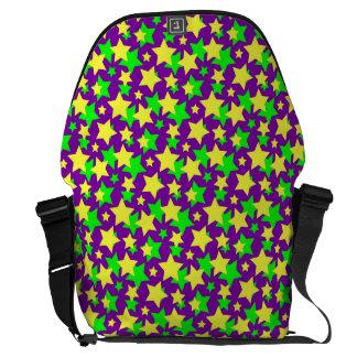 STAR POWER: GREEN & YELLOW PARADE on PURPLE ~ Messenger Bag