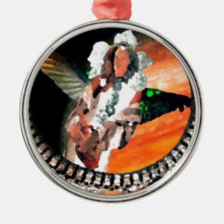 Star Princess and Tiger CricketDiane Fantasy Art Silver-Colored Round Decoration