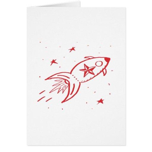 Star Rocketship Red no frame - Cards