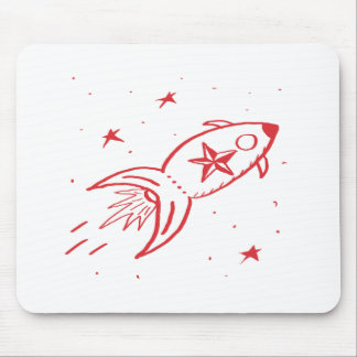 Star Rocketship Red no frame - Mousepad