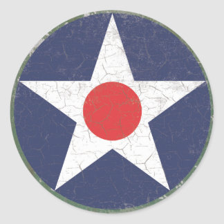 Star Roundel Rustic Red Dot Classic Round Sticker