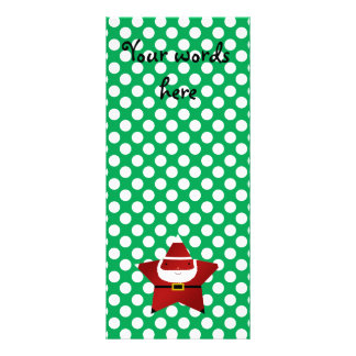 Star santa with green and red polka dots rack card template