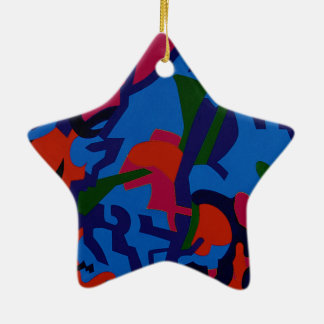 Star shape colourful Abstract Art tree decorations