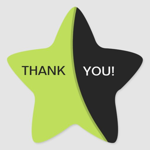 Star Shape Thank You Stickers