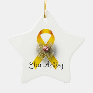 Star Shaped Angel Childhood Cancer Awareness Christmas Ornament