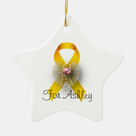Star Shaped Angel Childhood Cancer Awareness Christmas Ornament