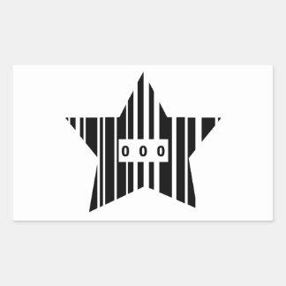 Star Shaped Barcode Rectangular Sticker