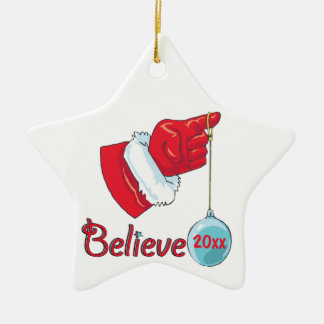 Star Shaped Believe Ceramic Star Decoration