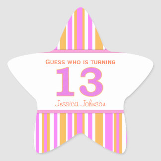 Star Shaped Personalized 13th Birthday Stickers