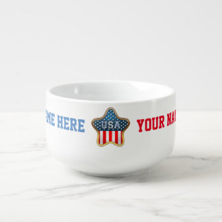 Star-Shaped US Flag Soup Mug