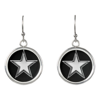 Star Silver Metallic Black Customize Earrings