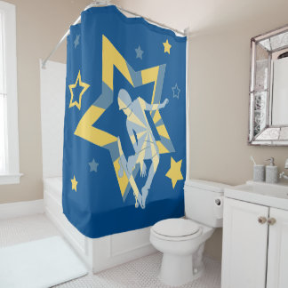 Star Skater in Blue and Yellow Shower Curtain
