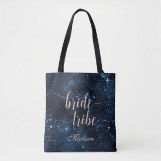 Star Sky Celestial Galaxy Bride Tribe Monogram Tote Bag