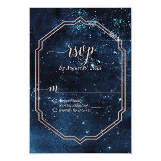 Star Sky Celestial Galaxy Watercolor Wedding RSVP Card