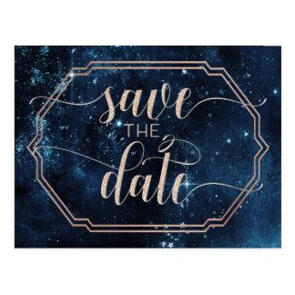 Star Sky Celestial Galaxy Wedding Save the Date Postcard