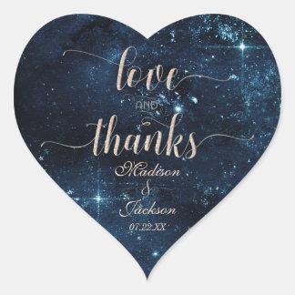 Star Sky Celestial Wedding Love & Thanks Favor Heart Sticker