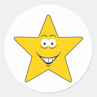 Star Smiley Face Round Sticker