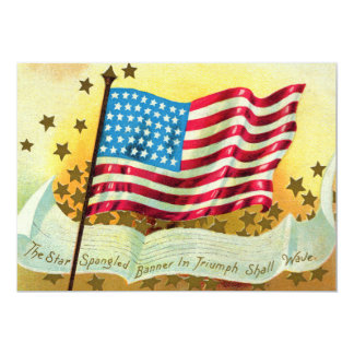 "Star Spangled Banner American Flag Invitation 5"" X 7"" Invitation Card"