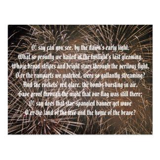 Star-Spangled Banner and Fireworks Postcard