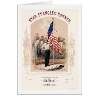 Star Spangled Banner Lithograph by P.S. Duval 1861 Greeting Cards