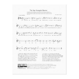 Star-Spangled Banner National Anthem Music Sheet Gallery Wrapped Canvas