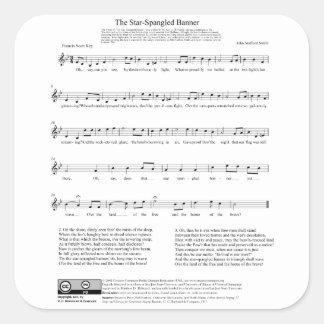 Star-Spangled Banner National Anthem Music Sheet Square Sticker