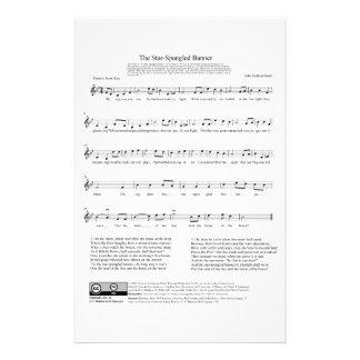 Star-Spangled Banner National Anthem Music Sheet Stationery