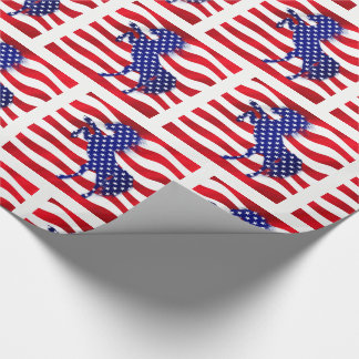 Star Spangled Horse on Red and White Stripes Wrapping Paper