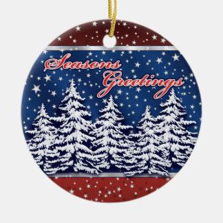 Star Spangled Seasons Greetings Ornament