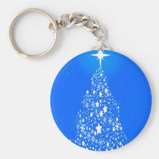 Star Spangled Snowflake Christmas Tree Basic Round Button Key Ring