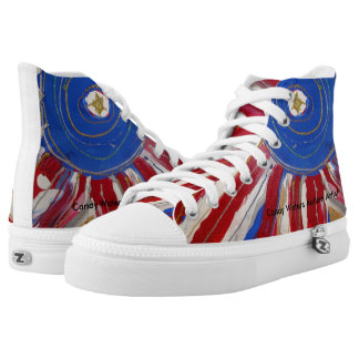 """Star-Spangled Sun"" by Candy Waters Autism Artist High Tops"