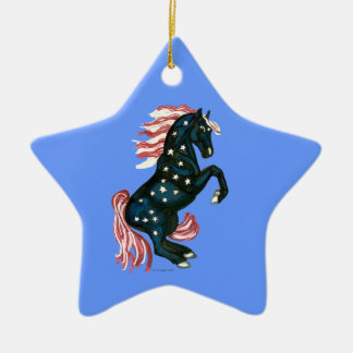 Star Spangled Wild Mustang Horse - Star Ornament