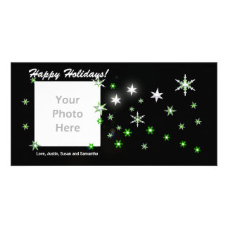 Star Sparkle Black Holidays Personalized Photo Card