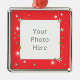Star Sparkle Holiday Red (photo frame) Christmas Ornament