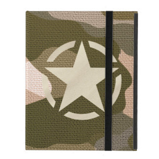 Star Stencil Vintage Decal Burlap Camo Style iPad Cases