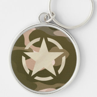 Star Stencil Vintage Decal on Camo Style Key Ring
