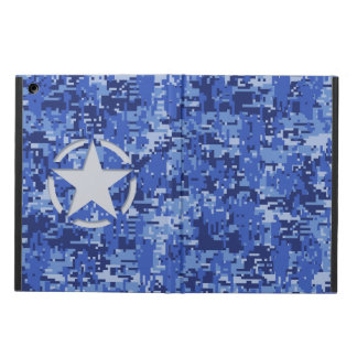 Star Stencil Vintage Jeep Decal Blue Digital Camo Case For iPad Air