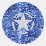 Star Stencil Vintage Jeep Decal Blue Digital Camo Round Sticker