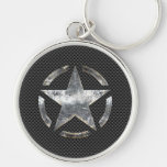 Star Stencil Vintage Jeep Decal Digital Camo Style Silver-Colored Round Key Ring