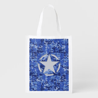 Star Stencil Vintage Navy Blue Digital Camo
